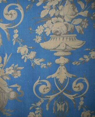 Stunning Antique French Prussian Blue Gray Rococo Floral Urn Cotton Fabric  #3 ~