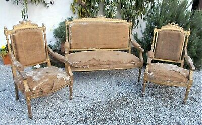 antique french Louis XVI style suite of sofa & 2 armchairs, gilt, TO RESTORE