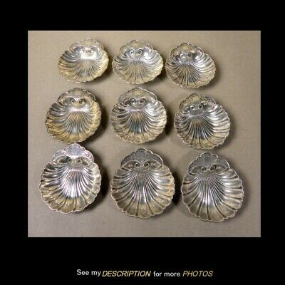 Set 9 Antique Durgin Sterling Silver Shell Shaped Nut Dishes