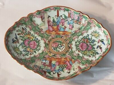 """Large 12"""" Antique Chinese Rose Medallion Footed Oval Bowl Compote Centerpiece"""