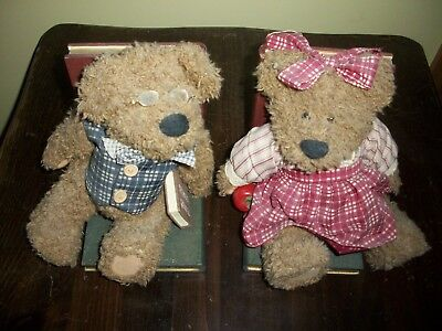 Antique BOOKENDS Pair of Boy & Girl TEDDY BEAR Handcrafted Figurines COLLECTIBLE