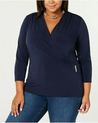 Charter Club Womens navy Blue Wrap V-Neck Pullover Top Shirt Plus 1X