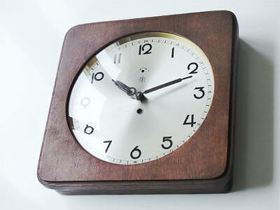 1930 Antique german beautiful orig. JUNGHANS Wall Clock rare wood brass gold