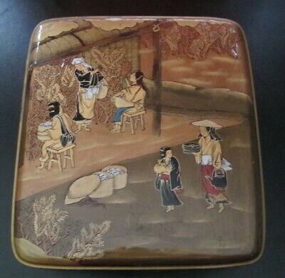 "Vintage Chinese Hand Decorated Lacquer Wood Box Figural Scene 8.75"" X 9.75"""