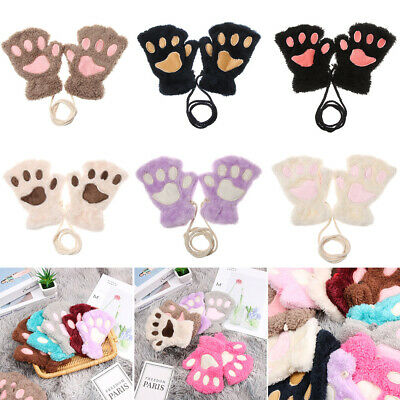 Fashion Warm Fluffy Warm Plush Children Gloves Fingerless Mittens Cat Paw