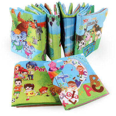 1pc Baby Early Learning Soft Cloth Books Creative Squeak Crinkle Book Puzzle Toy