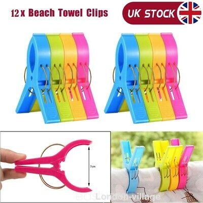 8/12x Large Plastic Towel Clips Pegs Beach Quilt Clothes Pins Sun Lounger Sunbed