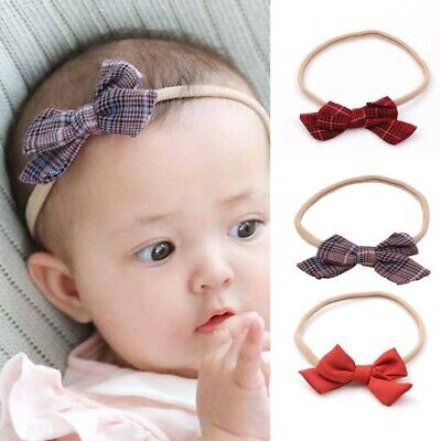Baby Retro Striped Headband Bow Knot Hair Band Children Elastic Hair Accessories