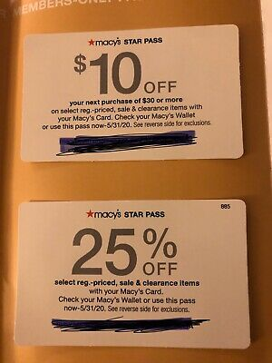 Macy's $10 off $30 & 25% Off Coupon ONLINE Exp 5/31/20
