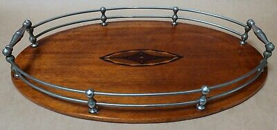 Beautiful Antique Inlaid Wooden Wood And Chrome Serving Tray