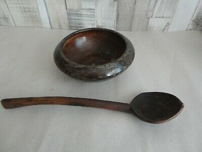 Old Antique Primitive Wooden Spoon  Wood Plate Meal Bowl Dish Farm Rustic