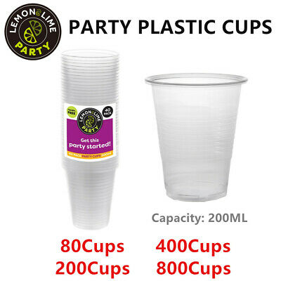 Party Plastic Cup 200ML BPA FREE Clear Drinking Cups Catering Disposable Event