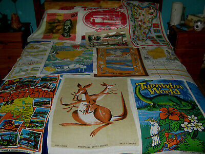 VINTAGE SOUVENIR X10 TEA TOWELS 1970's+ (USED)