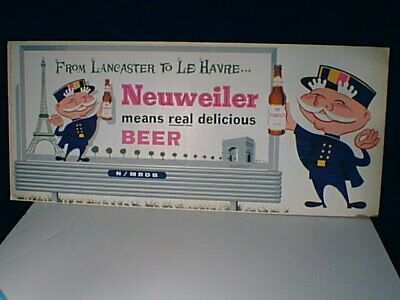 "Neuweiler Beer Allentown PA ""From Lancaster to LeHavre"" back-bar sign UNUSED G"