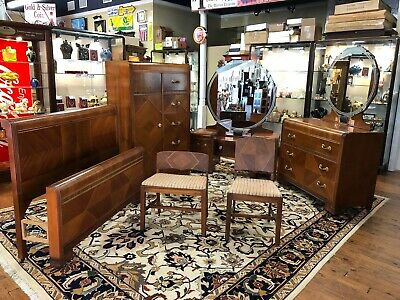 (6) Piece Art Deco Waterfall 1940'S Bedroom Suite Tri Bond Iii Furniture Company