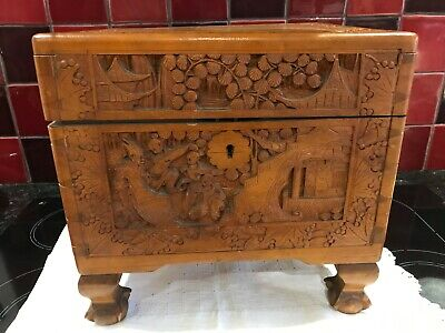 Vintage Chinese Carved Camphor Wood Sewing Box