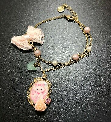 Disney Marie Cat Gold Plated Bracelet Kitten Kitty Crystal Pearl Bow Charms New