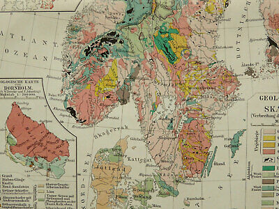 1897 Antique geological map of SWEDEN, NORWAY, SCANDINAVIA. Geology. 123 years