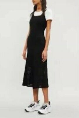 SANDRO BLACK KNIT MIDI FIT AND FLARE Mesh Details RIBBED  DRESS SZ 2