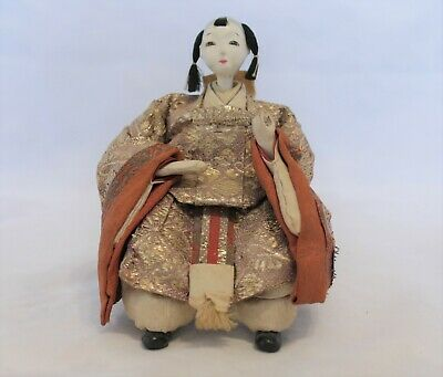 Antique/Vintage Silk Embroidered Japanese Sitting Lady Hina Doll No.4