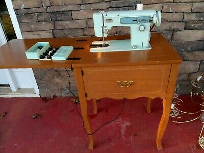 Vintage Brother Project 631 Heavy Duty Zig Zag Sewing machine w Cabinet & Light