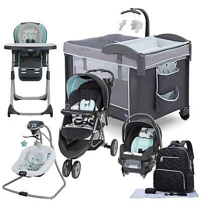 Baby Stroller Travel System with Car Seat Swing Playard Hi-Chair Bag Set New