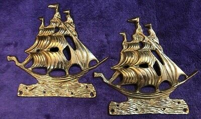 Brass Tall Ship Nautical Wall Hanging Pair Set of 2