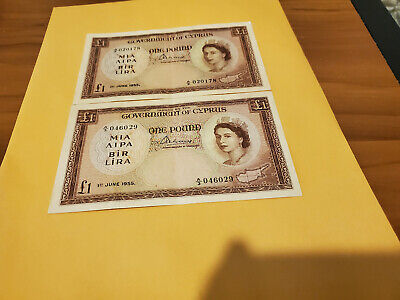 2x Cyprus 1 pound 1955 notes one is nice AU epq and other is XF epq