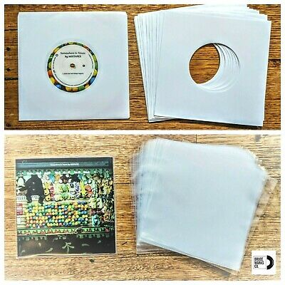 110 RECORD SLEEVES FOR 7″ VINYL - WHITE 100 GSM PAPER & CLEAR SLVS FOR 45RPM EPs