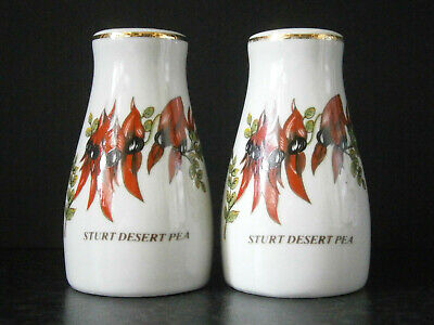 VINTAGE WHITE CHINA SOUVENIR SALT & PEPPER SHAKER SET Sturt's Desert Pea