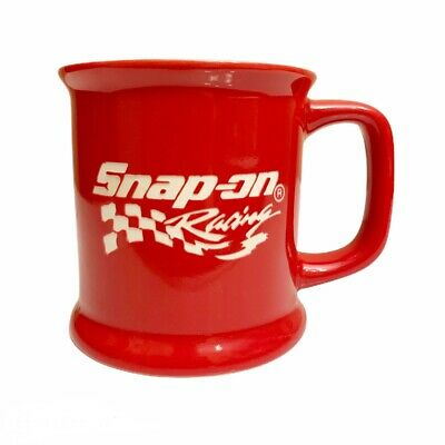 Snap On Racing Coffee Mug Red White Etched Logo Cup Tools