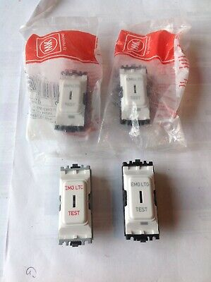 4 x MK K4917 WHI 20A DP 1 Way Secret Key Switch Double Pole Grid Plus