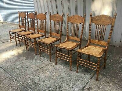 Antique Pressed Back Oak Dining Chairs with Caned Seats Set of 6