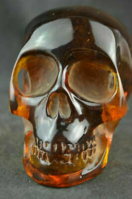 "4.5"" Collectible Decorate Handwork Burmese Artificial amber carving skull statue"
