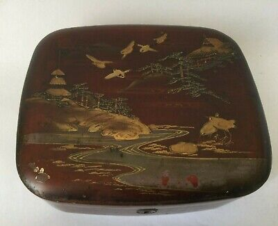 Vintage Chinese Wooden Red Lacquered Hand painted Box 7.5 ''x 6.1/4'' x 2.5''