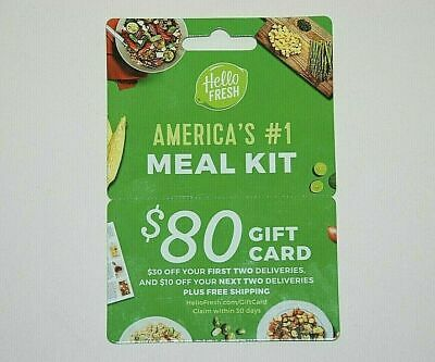 Hello Fresh $80 Gift Card Plus Free Shipping (Email Delivery) Meal Kit Service