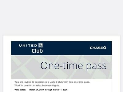 2 United Club One-Time Passes Expires March 11, 2021 E-mail delivery