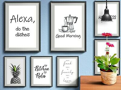 Kitchen Prints Funny Quotes Wall Word Art Poster Home Pictures Decor Typography