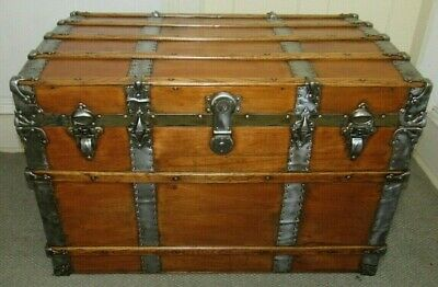 Antique Steamer Trunk Large Vintage Victorian Flat Top Wooden Chest W/Key C1895