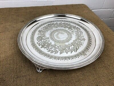 Beautiful Vintage Circular Silver Plate Gallery Serving Tray Sheffield Made 10""