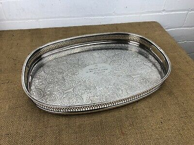 Vintage Silver Plate Gallery Serving Tray English Made 16""