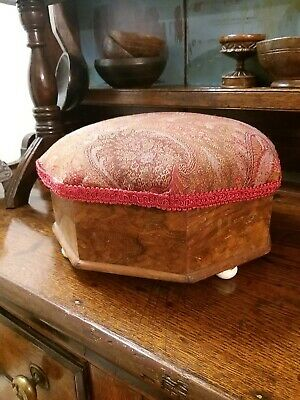 A Lovely burr wood Victorian Footstool original box stool sewing etc