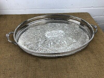 Large Vintage Silver Plate Gallery Serving Tray Sheffield Viners Made 22""