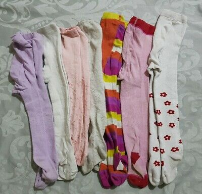 Bundle of 7 Girls Tights Size 1 - 1.5 years  Flowers Stars Stripes