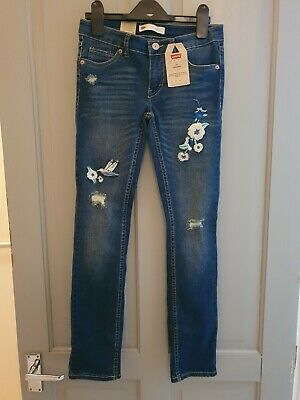 Girls Levis Denim Jeans Embroidered Blue Age 10 New Bnwt 711 Skinny Floral