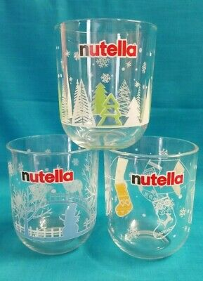 Nutella Limited Edition Christmas Glass x 3