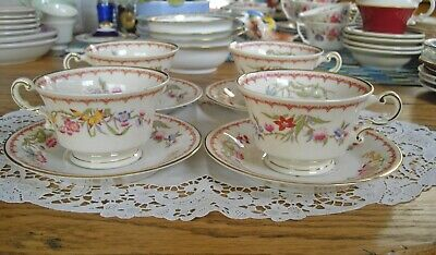 Vintage Syracuse China BOMBAY Old Ivory O.P.CO Teacups & Saucers ~ Set of 4 ~