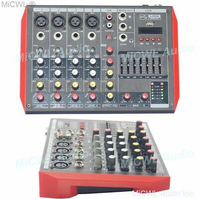 MG6 Bluetooth Portable Audio Mixer DJ Sound Mixing Console MP3 7-Band EQualizer