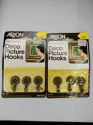 NOS Vintage set of 6 Arjon Brass Deco Picture Hooks Painting Hanger USA MADE