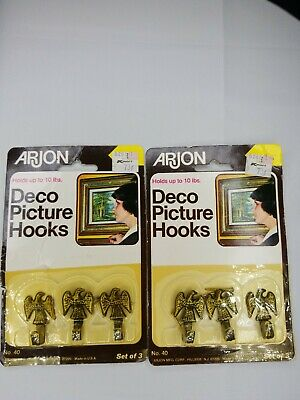 Vintage Arjon Deco Picture Hooks Wall Hanging set of 6 NOS Eagle USA